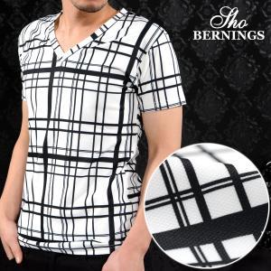 【Sale】Tシャツ Vネック ランダムチェック メンズ 半袖 モノトーン チェック ストレッチ 半袖Tシャツ(ホワイト白ブラック黒) 309822|mroutlet