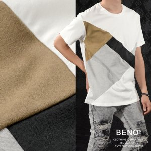 【Sale】Tシャツ PUレザー フェイクスエード メンズ 切替 幾何学 異素材 クルーネック 半袖Tシャツ(ホワイト白) 720d4010 mroutlet