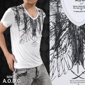 Tシャツ オルテガ柄 羽根 メンズ Vネック プリント モノトーン 半袖Tシャツ(ホワイト白) ad1714646|mroutlet
