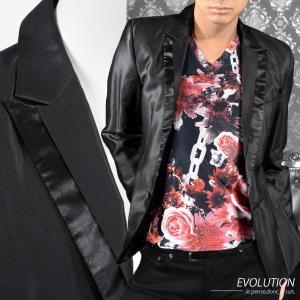 テーラードジャケット 無地 1釦 メンズ ペイズリー 細身 ピークドラペル シンプル アクセサリー付 長袖 衣装 パーティー(ブラック黒) 7702 mroutlet