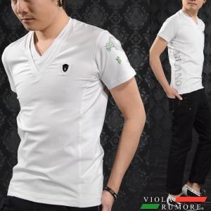 【Sale】VIOLA rumore ヴィオラルモア Tシャツ Vネック メンズ 無地 イタリア ラインストーン 細身 ストレッチ 半袖T(ホワイト白) 71306|mroutlet