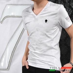 VIOLA rumore ヴィオラルモア Tシャツ Vネック 迷彩柄 バイヤスボーダー メンズ 細身 半袖Tシャツ(ホワイト白) 71308|mroutlet