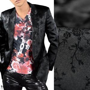 ジャケット テーラード 花柄 薔薇 メンズ 日本製 ジャガード 結婚式 1釦 光沢 ピークトラペル 無地 テーラードジャケット(ブラック黒) 162903|mroutlet