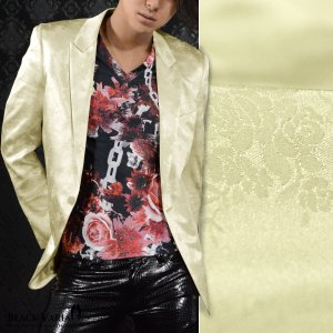 ジャケット テーラード 花柄 薔薇 メンズ 日本製 ジャガード 結婚式 1釦 光沢 ピークトラペル 無地 テーラードジャケット(ゴールド金) 162903|mroutlet