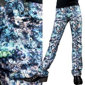 パンツ ムラ 花柄 メンズ シューカット ブーツカット ストレッチ ボトムス 柄パン(ブルー青ブラック黒) 172304|mroutlet