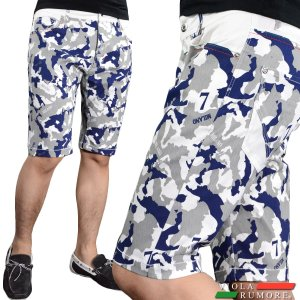 VIOLA rumore ヴィオラルモア ハーフパンツ メンズ カモ柄 膝上 迷彩 短パン 総柄 ショートパンツ(ブルー青ホワイト白) 71332|mroutlet