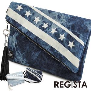 クラッチバッグ デニム ケミカル 星条旗 星 カバン 鞄 メンズ(インディゴブルー青紺) 550 mroutlet