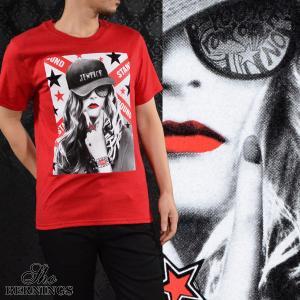 【Sale】Tシャツ ガールズプリント メンズ 外国人 女性 スター クルーネック 半袖T(レッド赤) 321532 mroutlet