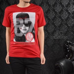 【Sale】Tシャツ ガールズプリント ナンバリング メンズ 外国人 女性 87 スター クルーネック 半袖T(レッド赤) 321632 mroutlet
