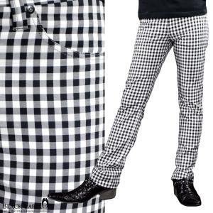 パンツ ギンガムチェック ストレート メンズ 日本製 ストレッチ スリム チェック ボトムス(ホワイト白ブラック黒) 933715|mroutlet