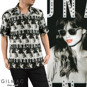 【Sale】開襟シャツ ガールズプリント メンズ オープンカラー リップ 外国人 女性 半袖シャツ(ブラック黒ホワイト白) 37500 mroutlet