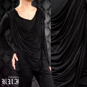 ドレープTシャツ ドレープ 紐 アシメ 変形 フェイクレイヤード 無地 長袖Tシャツ メンズ(ブラック黒) 76377|mroutlet
