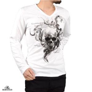 Tシャツ Vネック スカル 髑髏 スモーク 英字 長袖 ドクロ プリント ロンT メンズ(ホワイト白) 303833|mroutlet