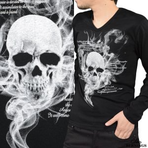 Tシャツ Vネック スカル 髑髏 スモーク 英字 長袖 ドクロ プリント ロンT メンズ(ブラック黒) 303833|mroutlet