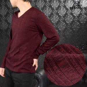 Tシャツ テレコ ランダム Vネック ストライプ 無地 シンプル 長袖 ロンT メンズ(ワイン赤) 304433|mroutlet