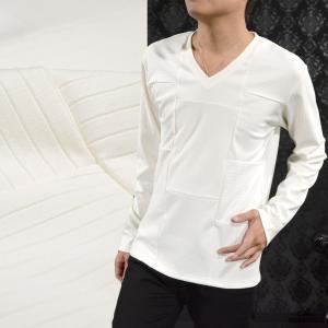 Tシャツ Vネック 切替 ランダム メンズ ストライプ ボーダー 無地 シンプル 長袖 テレコ ロンT(ホワイト白) 306433|mroutlet