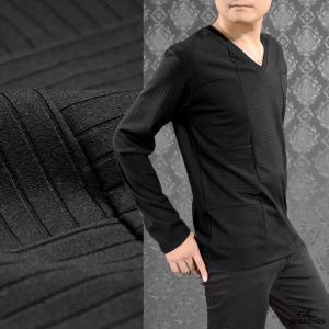 Tシャツ Vネック 切替 ランダム メンズ ストライプ ボーダー 無地 シンプル 長袖 テレコ ロンT(ブラック黒) 306433|mroutlet