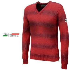 VIOLA rumore ヴィオラルモア セーター 薄手 ボーダー Vネック メンズ リブ 長袖 グラデーション ニット ニットソー(レッド赤) 81111|mroutlet