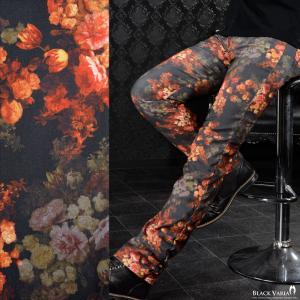 パンツ スリム 花柄 薔薇 メンズ 日本製 シャーリング スキニー ストレッチ 細身 ボトムス(ブラック黒レッド赤) 172701|mroutlet
