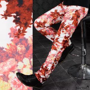 パンツ スリム 花柄 薔薇 メンズ 日本製 シャーリング スキニー ストレッチ 細身 ボトムス(ホワイト白レッド赤) 172701|mroutlet