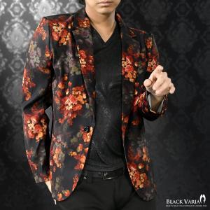 カットジャケット 花柄 薔薇 メンズ 日本製 1釦 ストレッチ 長袖 シングル ジャケット(ブラック黒レッド赤) 172750|mroutlet