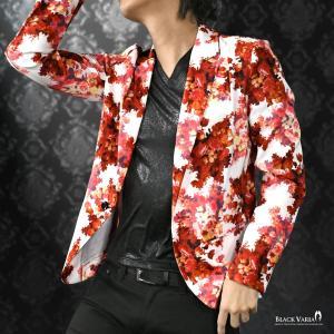 カットジャケット 花柄 薔薇 メンズ 日本製 1釦 ストレッチ 長袖 シングル ジャケット(ホワイト白レッド赤) 172750 mroutlet