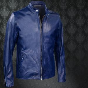 シングルライダース 本革 牛革 リアルレザー メンズ 革ジャン ジャケット(ネイビー紺ブルー青) 373701|mroutlet