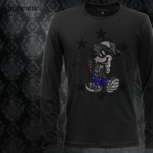 Disney ディズニー Tシャツ ミッキー スケボー メンズ クルーネック 長袖 ラインストーン キャラクター ロンT(ブラック黒) 1739006|mroutlet