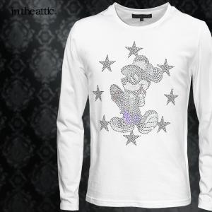 Disney ディズニー Tシャツ ミッキー スケボー メンズ クルーネック 長袖 ラインストーン キャラクター ロンT(ホワイト白) 1739006|mroutlet