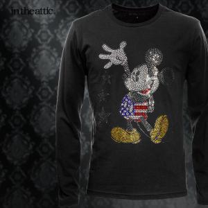Disney ディズニー MICKEY MOUSE ミッキー Tシャツ 星条旗 クルーネック 長袖 ラインストーン キャラクター ロンT メンズ(ブラック黒) 1739026|mroutlet