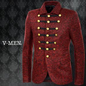 ナポレオンジャケット ゴールド釦 メンズ シングル 飾り ウール スリム ジャケット(レッド赤ブラック黒) 999015|mroutlet
