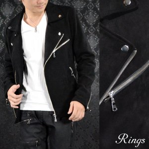 ダブルライダース スエード メンズ ダブル フェイクスエード シンプル 無地 ライダースジャケット(ブラック黒) 137411|mroutlet