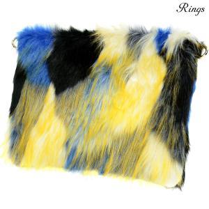 クラッチバッグ バック ファー B5 bag クラッチ メンズ ミックスカラー ショルダー 2way  マルチカラー 鞄(ブルー青イエロー黄) 157910|mroutlet