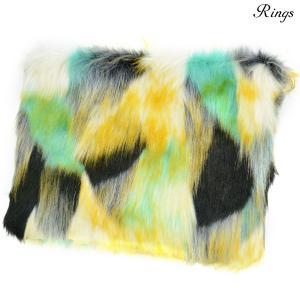 クラッチバッグ バック ファー B5 bag クラッチ メンズ ミックスカラー ショルダー 2way  マルチカラー 鞄(グリーン緑イエロー黄) 157910|mroutlet