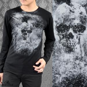 Tシャツ クルーネックネック スカル 髑髏 メンズ スモーク 英字 長袖 ドクロ プリント ロンT(ブラック黒) 305433|mroutlet