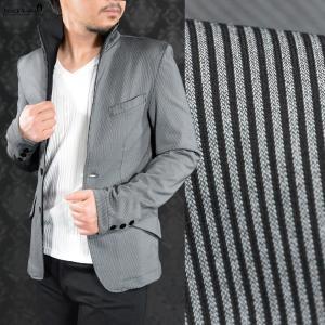 カットジャケット ストライプ イタリアンカラー ピケタイプ 日本製 2ボタン 長袖 ジャケット メンズ(グレー灰ブラック黒) 172751 mroutlet