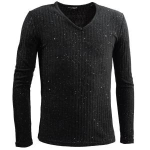 テレコTシャツ ラメ Vネック 長袖 無地 シンプル スリム カットソー ロンT メンズ(ブラック黒) 78371|mroutlet