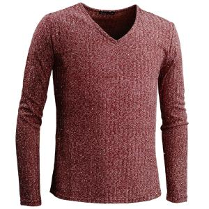 テレコTシャツ ラメ Vネック 長袖 無地 シンプル スリム カットソー ロンT メンズ(杢レッド赤) 78371|mroutlet