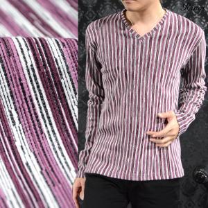 Tシャツ Vネック ストライプ マルチカラー 長袖 マルチストライプ ロンT メンズ(ワイン赤ホワイト白) 118024|mroutlet