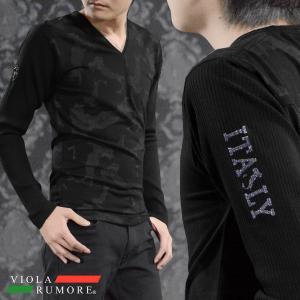 VIOLA rumore ヴィオラルモア Tシャツ 長袖 Vネック 迷彩柄 リブ袖 カモフラ カットソー ロンT メンズ(ブラック黒) 81201|mroutlet