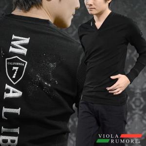 VIOLA rumore ヴィオラルモア Tシャツ 長袖 Vネック 紋章 ラインストーン リブ切替 細身 ストレッチ ロンT メンズ(ブラック黒) 81206|mroutlet