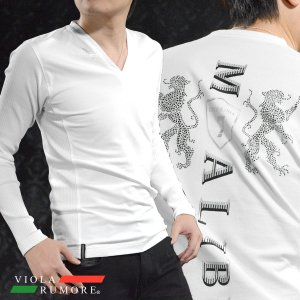 VIOLA rumore ヴィオラルモア Tシャツ 長袖 Vネック 紋章 ラインストーン リブ切替 細身 ストレッチ ロンT メンズ(ホワイト白) 81206|mroutlet
