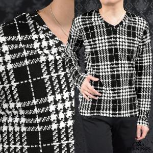 Tシャツ Vネック シェパードチェック 長袖 チェック ロンT(ブラック黒ホワイト白) 354341|mroutlet