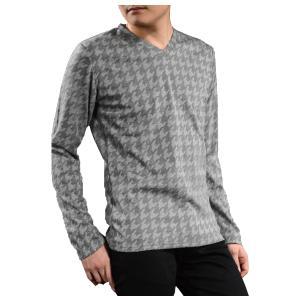 Tシャツ Vネック 千鳥 膨れジャガード 長袖 立体 シンプル 長袖Tシャツ(グレー灰) 1733516|mroutlet