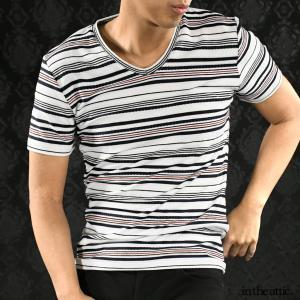 【Sale】Tシャツ 半袖 ボーダー ロープ ランダムボーダー Vネック 半袖Tシャツ メンズ(ホワイト白ネイビー紺ライン) 1821676 mroutlet