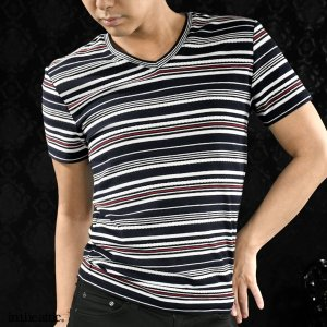 【Sale】Tシャツ 半袖 ボーダー ロープ ランダムボーダー Vネック 半袖Tシャツ メンズ(ネイビー紺ホワイト白ライン) 1821676 mroutlet