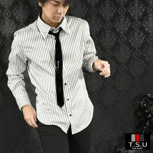 サテンシャツ ストライプ ネクタイ付き アクセサリー付き 長袖 ホスト ドレスシャツ メンズ(ホワイト白ブラック黒) 905593 mroutlet