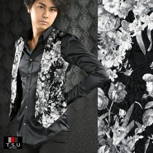 【Sale】ジレ 花柄 薔薇 日本製 ジャガード 1ボタン ジレベスト メンズ(ブラック黒ホワイト白) 927813 mroutlet