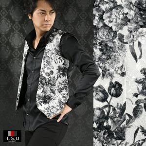 【Sale】ジレ 花柄 薔薇 日本製 ジャガード 1ボタン ジレベスト メンズ(ホワイト白ブラック黒) 927813 mroutlet