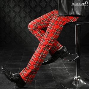 ロングパンツ タータンチェック ブーツカット メンズ 日本製 スリム ストレッチ ボトムス シューカット(レッド赤) 933745|mroutlet